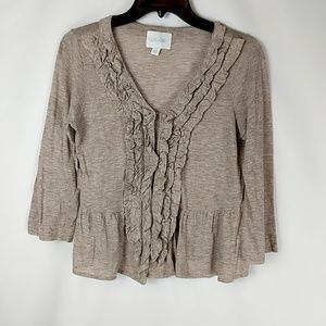 Anthropologie Deletta lacina ruffled peplum knit t